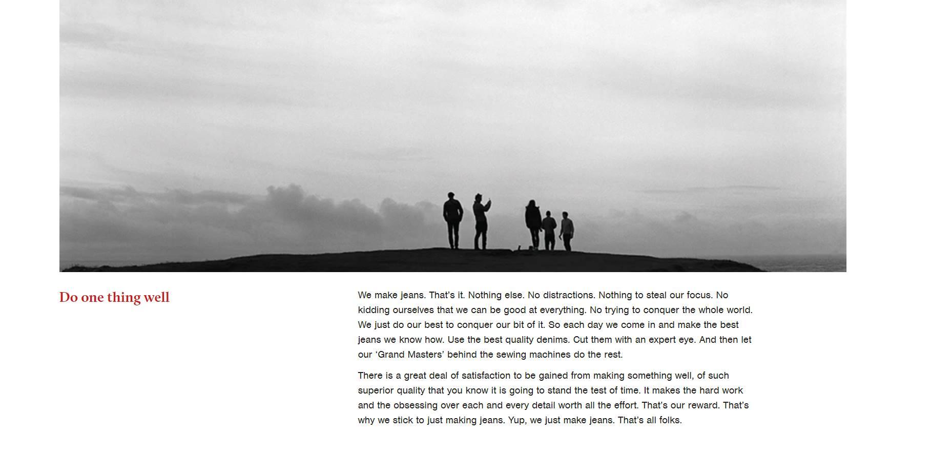 รูปที่ 2. หน้าแรกบนเว็บไซต์ของแบรนด์ Hiut Denim