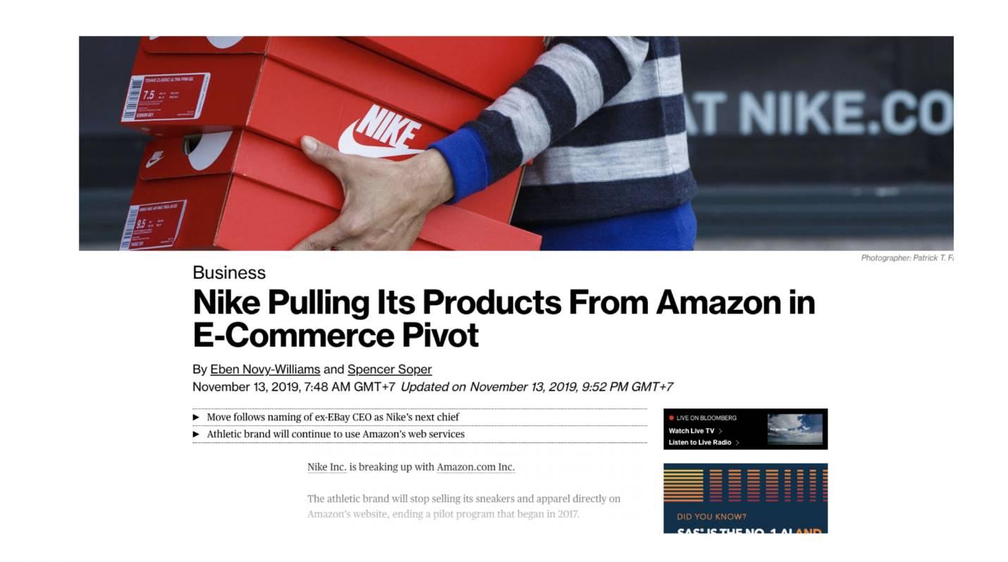 รูป 3. Nike ประกาศยุติการค้าขายสินค้าของตนเองผ่านทาง Amazon.com